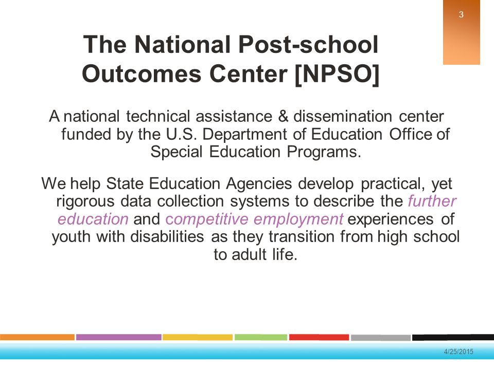 The National Post-school Outcomes Center [NPSO]